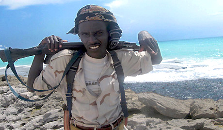 Somali pirate on the coast of Hobyo